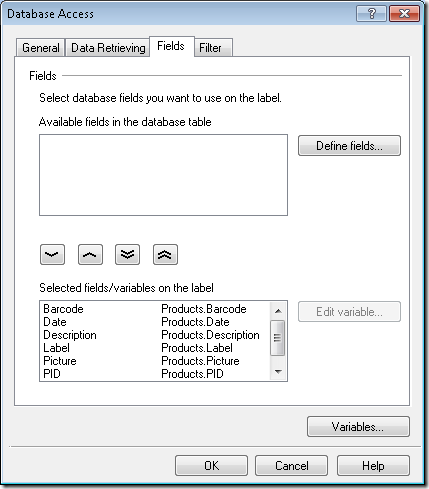 NiceLabel - Database Access Field Definition