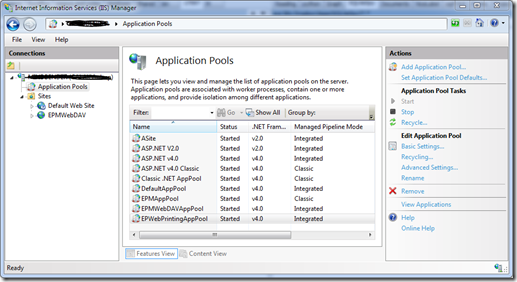 IIS - List of application pools